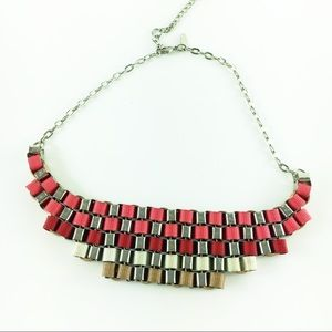 NY&Co Ribbon Block Statement Necklace Pink Red Tan